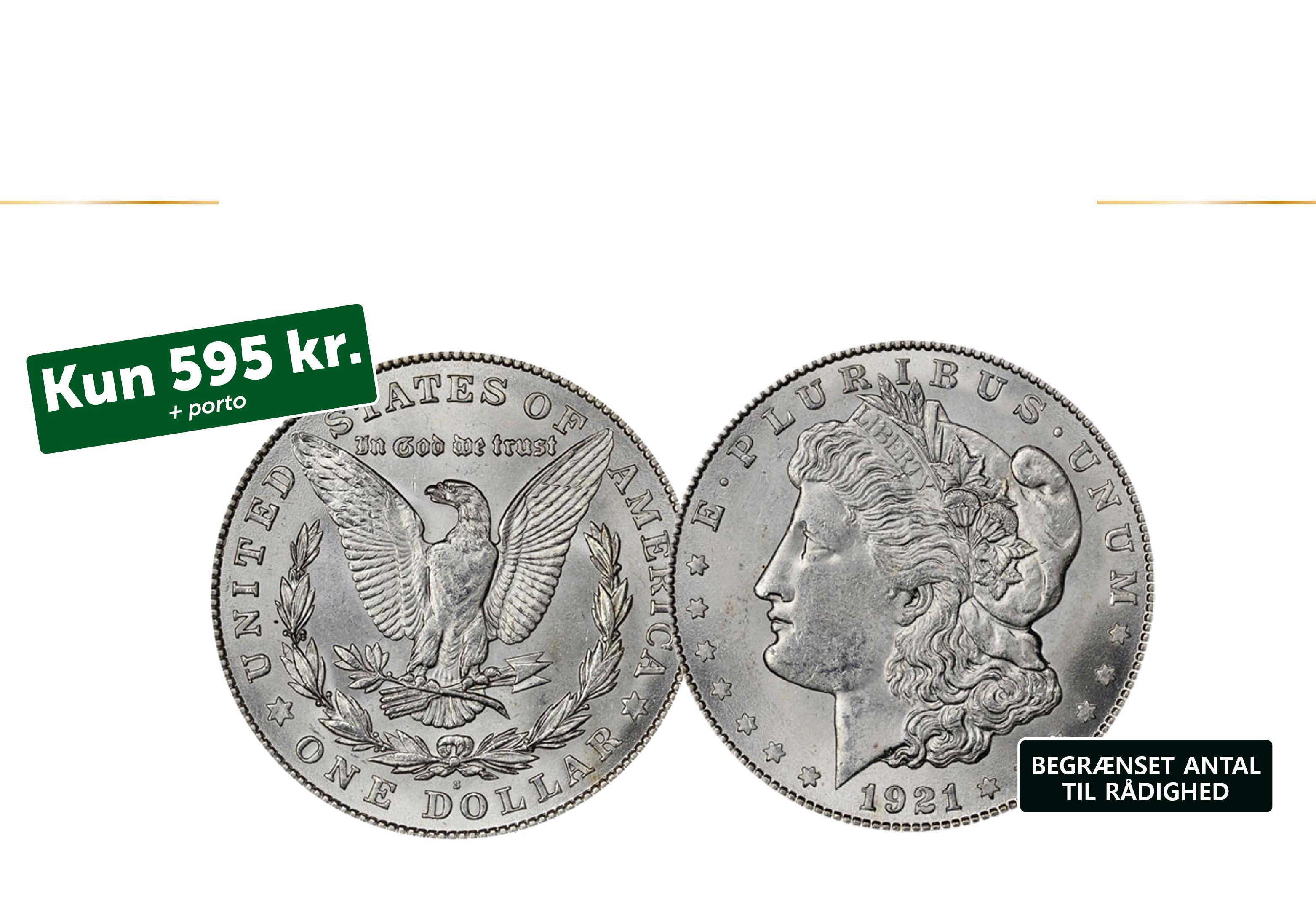 En original Morgan dollar fra 1921 - den sidste årgang.