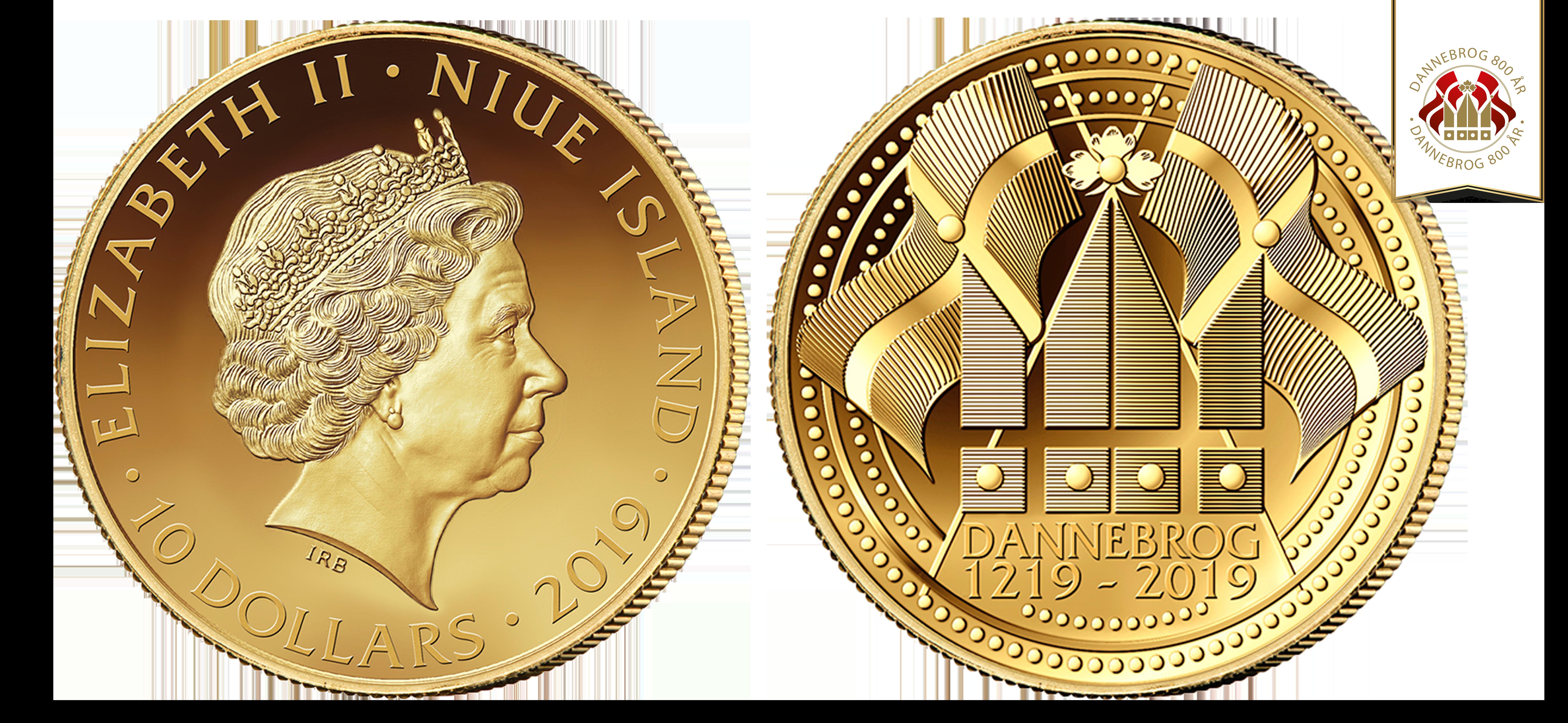 """Speciel Jubilæumønt """"Dannebrog 800 år"""" guldmønt i 99,9% guld. Guldmønt udgivet i forbindelse med 800-året for Dannebrog"""
