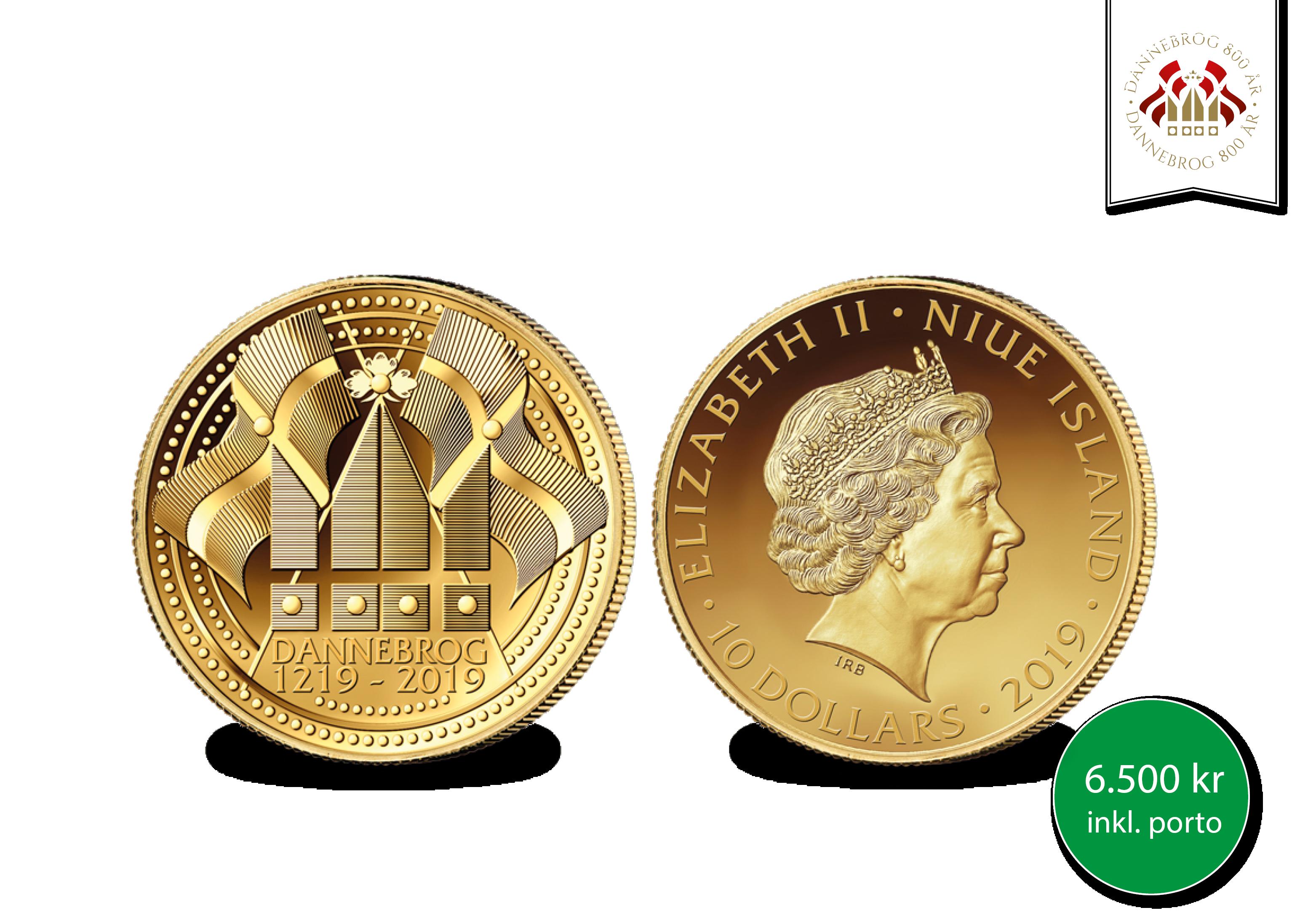 Jubilæumsmønten er udgivet for at fejre 800-året for vores flotte nationalflag.