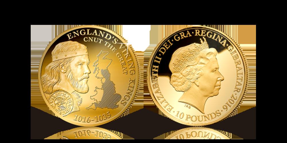 Første gang nogensinde at der er præget en guldmønt med et portræt af Knud den Store. Ved siden af ham kan man se et kort over England og det området Knud den Store regerede, samt et lille billede af en original mønt fra Knud den Stores tid.