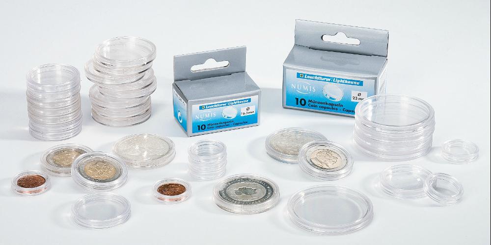 Pakke med 100 runde møntkapsler - 22 mm