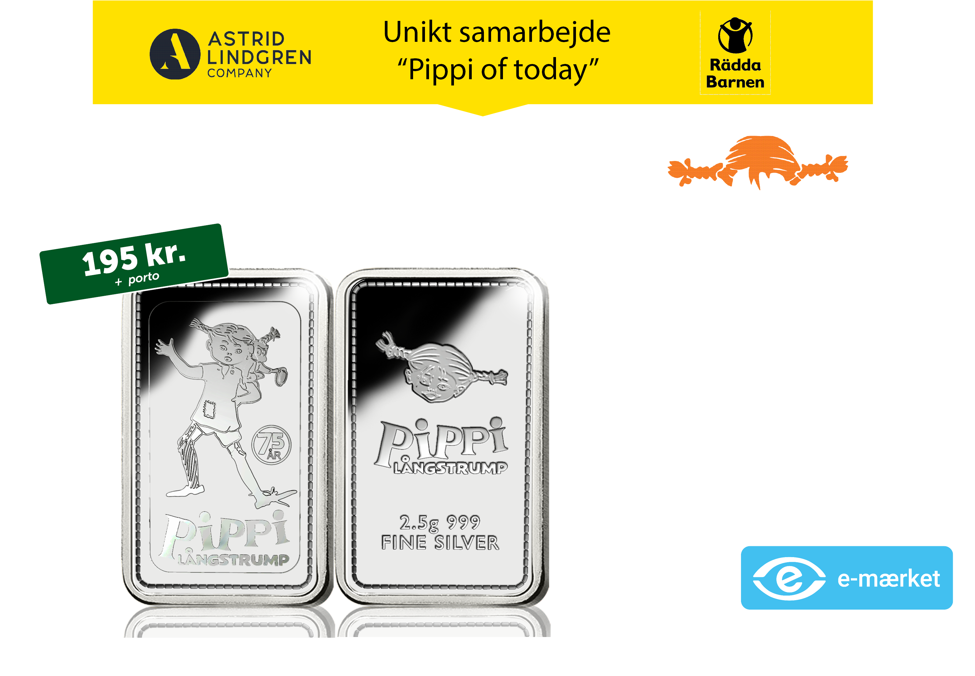 "Flot sølvbarre i 99,9% sølv med motiv af Pippi og sin abe ""Hr. Nilsson"