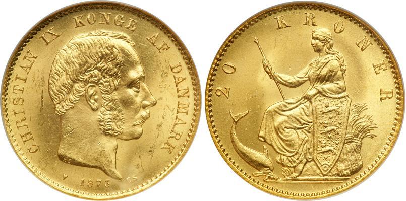 Danmarks første 20-krone. Ucirkuleret 20-krone af Kong Christian IX fra 1873