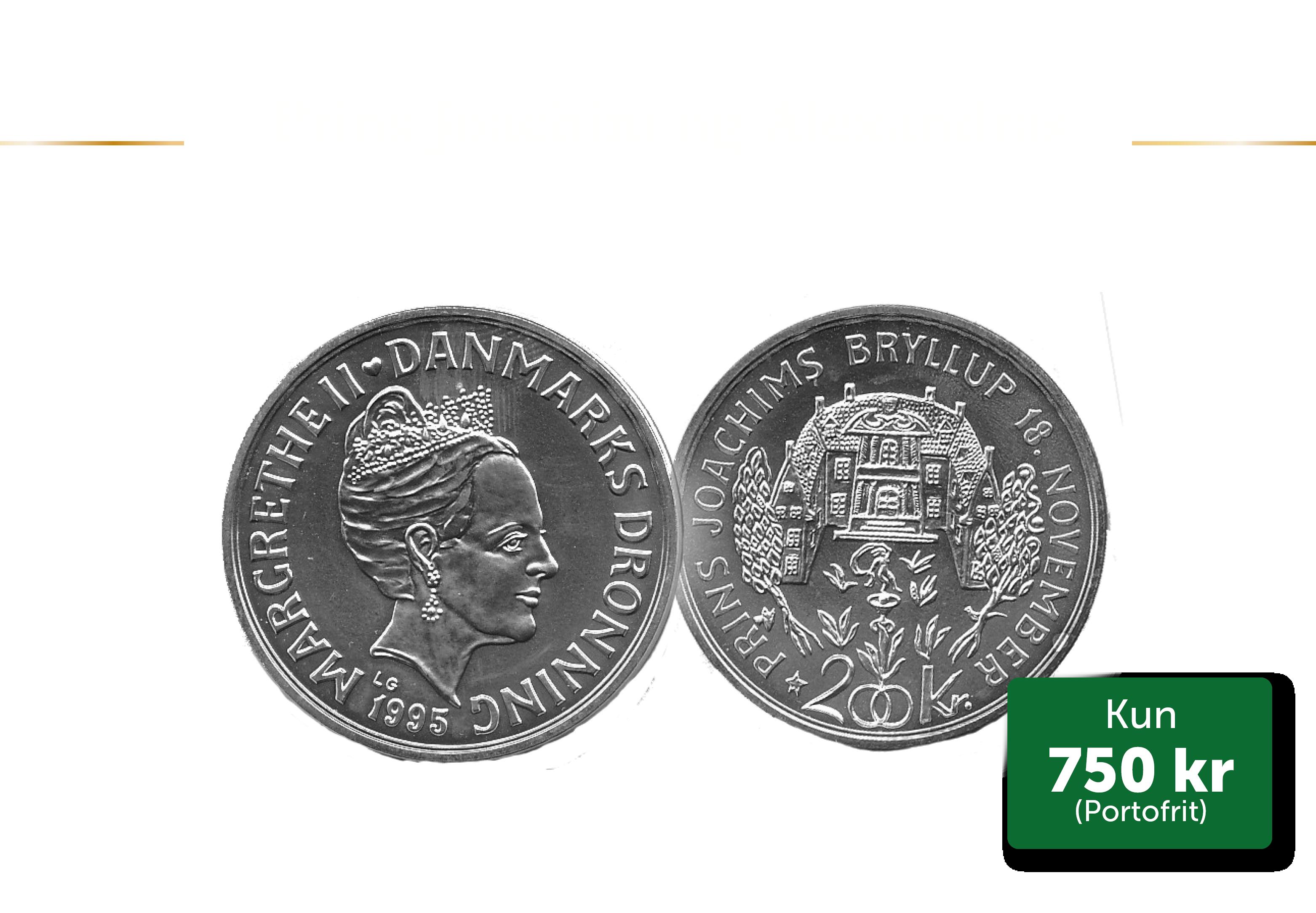 200 kr med Joachim og Alexandra bryllupsmønt fra 1995