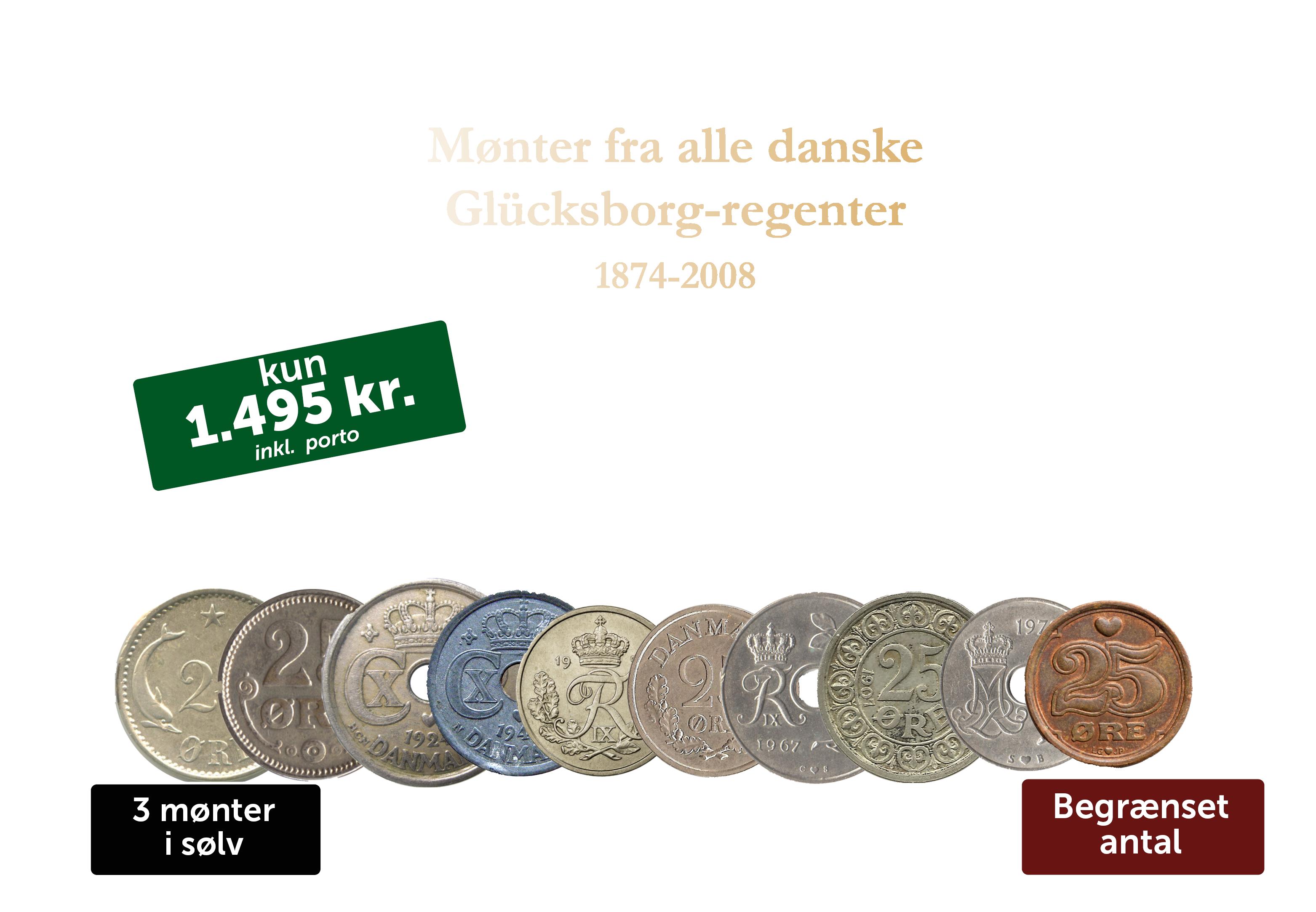 25-øre sæt -  Sæt med 10 danske mønter fra alle Glücksborg-regenter