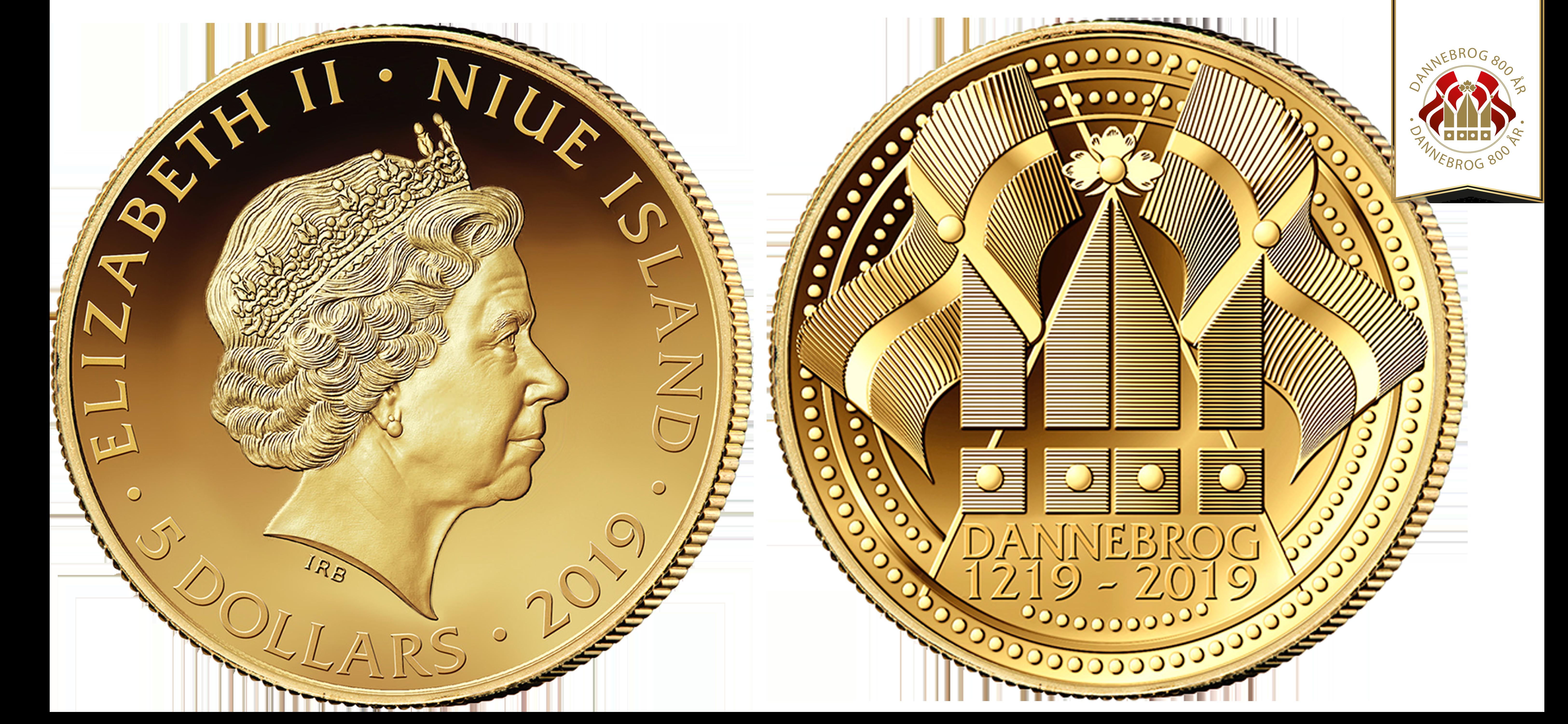 """Speciel Jubilæumsmønt """"Dannebrog 800 år"""" guldmønt i 99,9% guld. Guldmønt udgivet i forbindelse med 800-året for Dannebrog"""