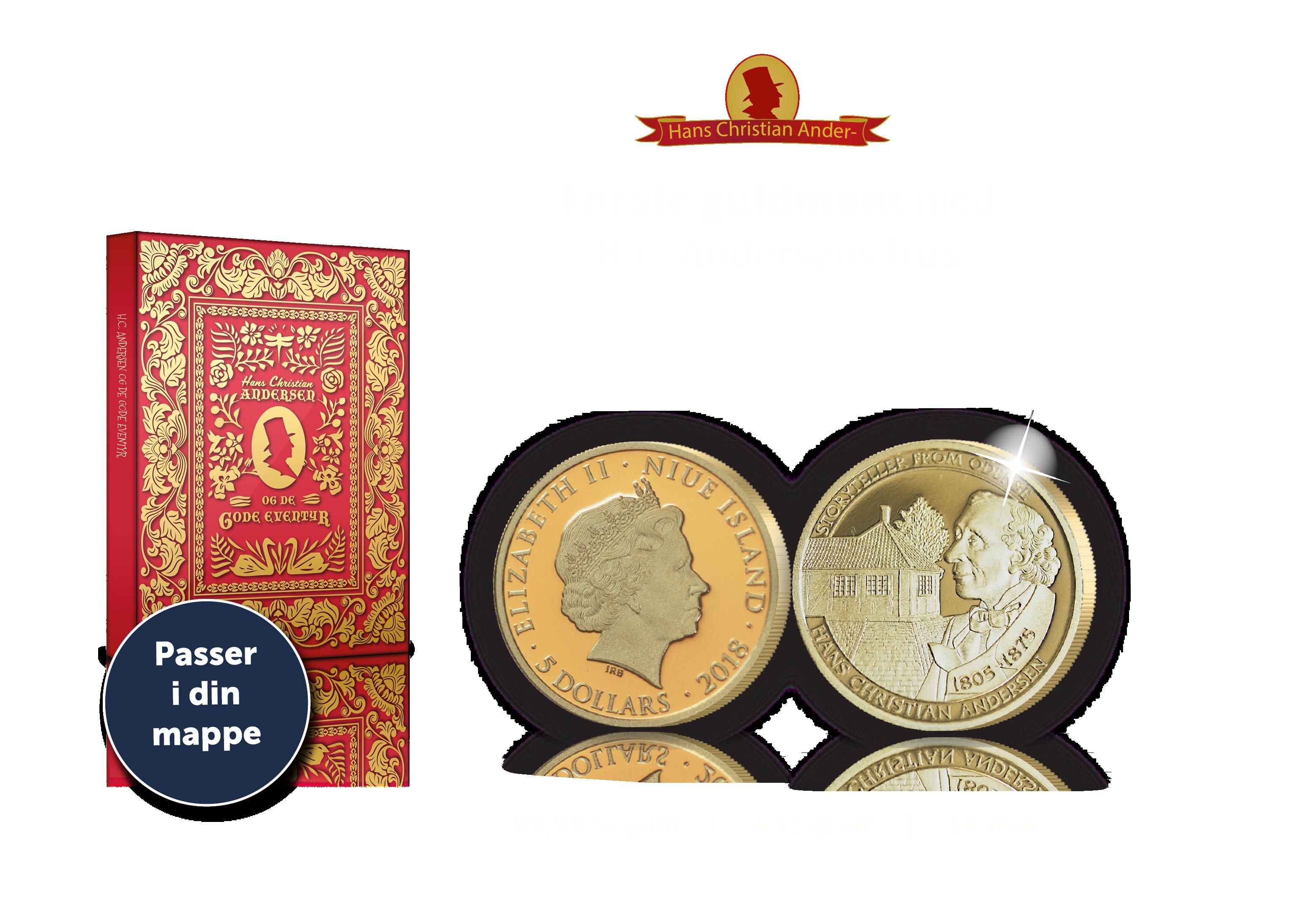 H.C Andersen Guldmønter - Første mønt med motiv af H.C Andersens hus i 99,9% guld