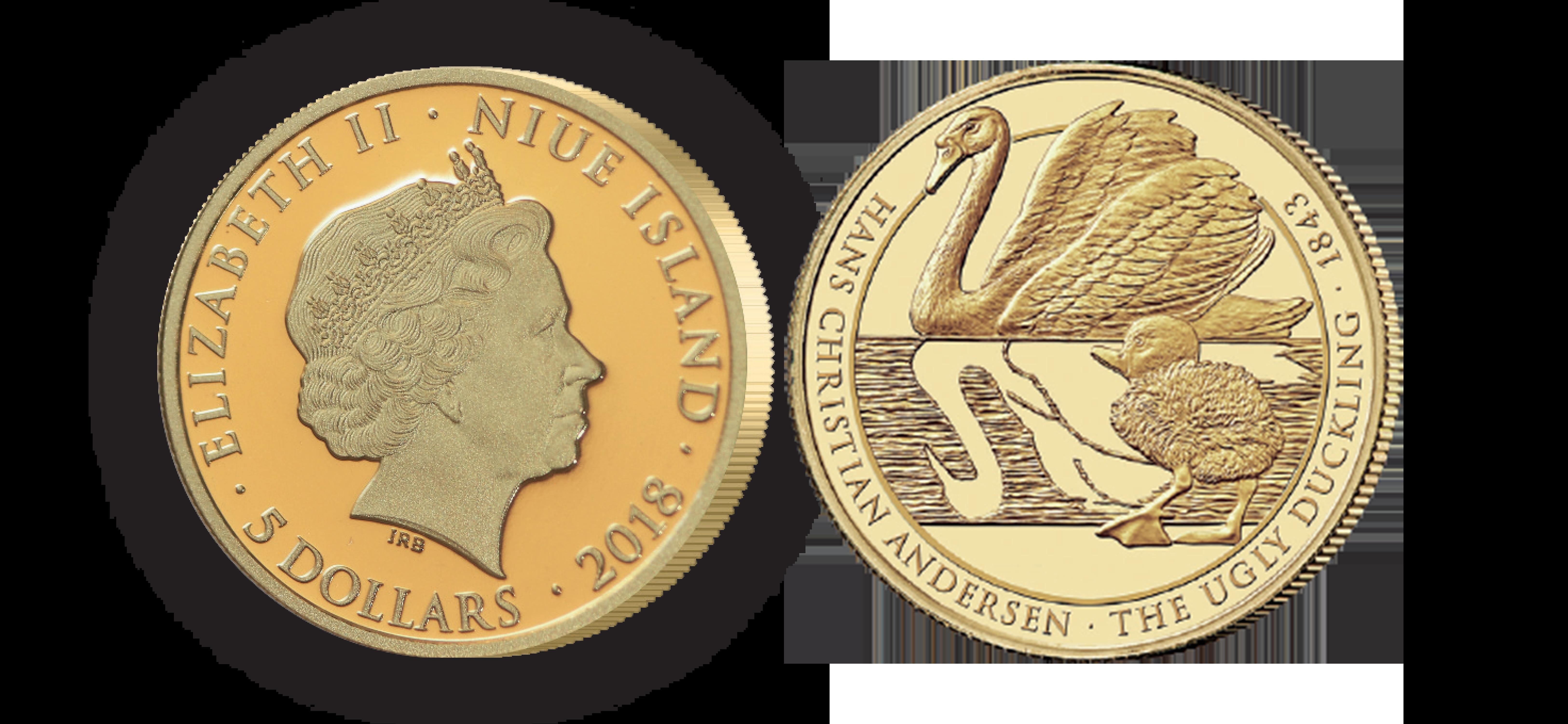 5 dollars i guld med Den grimme ælling  leveres i speciallavet skrin