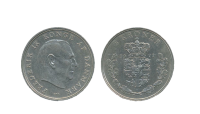 Portræt af Kong Frederik IX og rundt i periferien står der