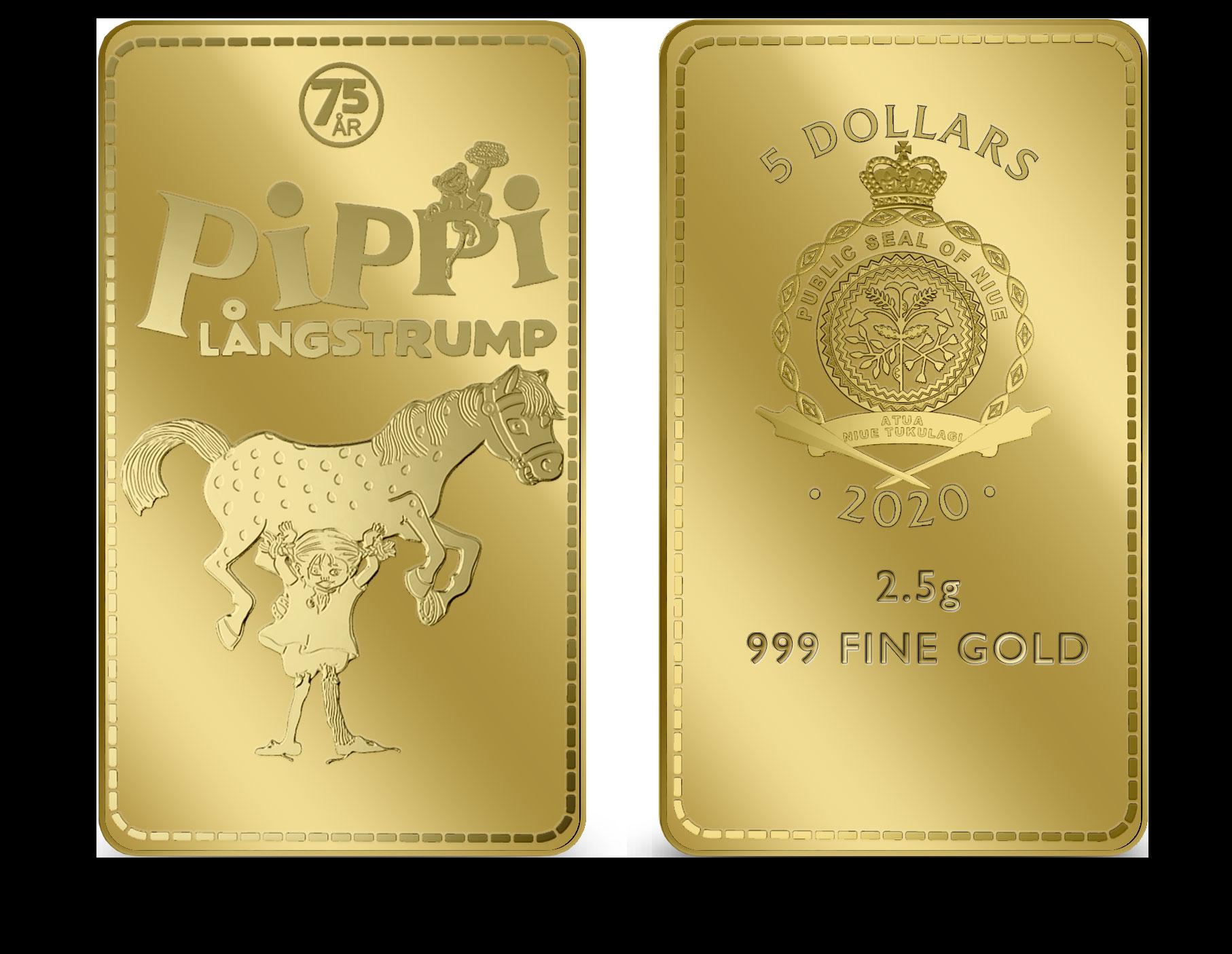 Eksklusiv møntbar i 24 karat guld på 2,5 g. Udgivet i forbindelse med Pippis 75-års fødselsdag. Leveres i specialdesignet skrin, i beskyttende kapsel samt med ægthedscertifikat.