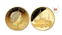 Køb denne eksklusive guldmønt online, i 24 karat guld, med et smukt og detaljeret motiv af kongeskibet Dannebrog til en pris på 3.500 kr.