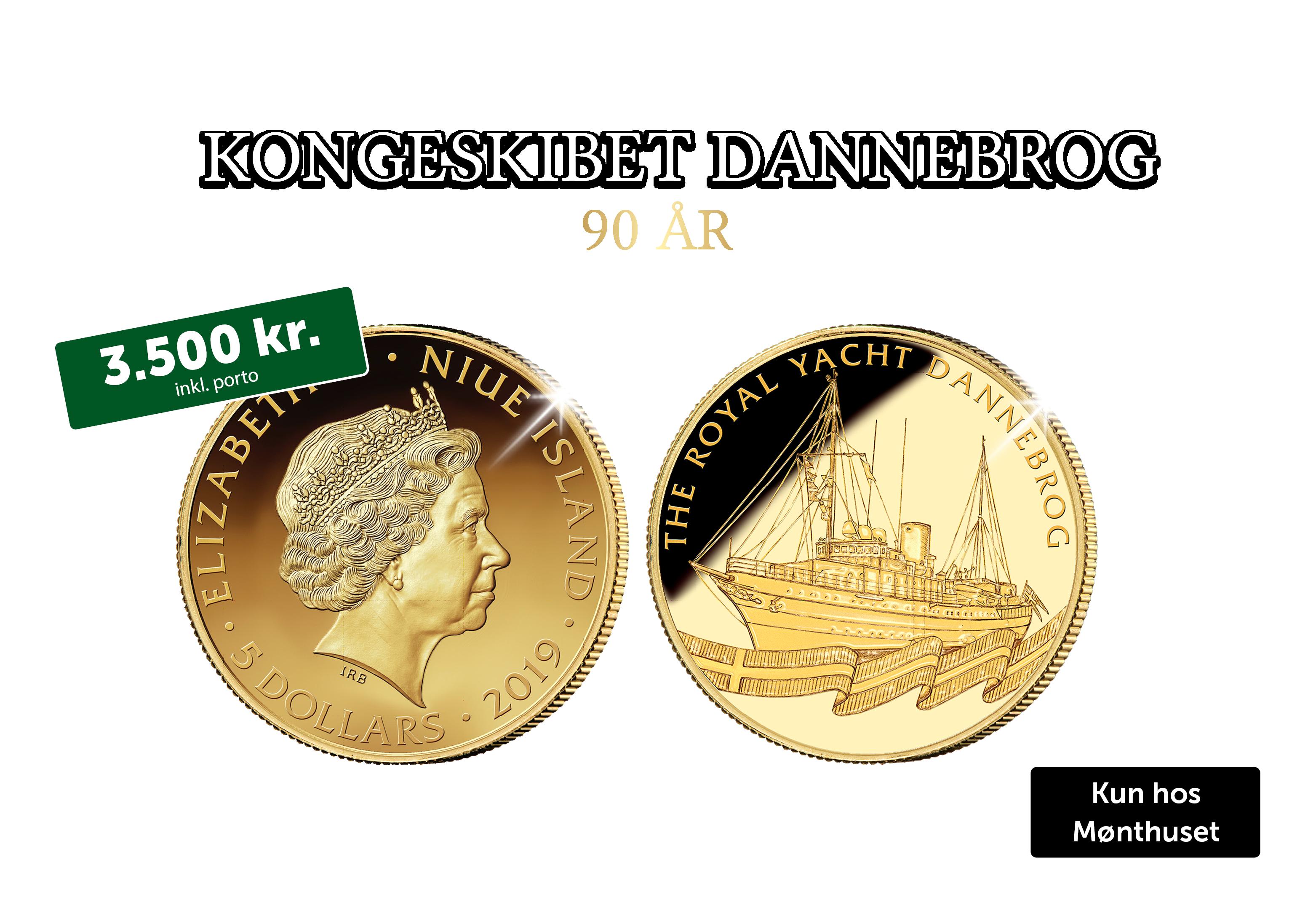 Dannebrog 800 år - Guldmønt med Kongeskibet Dannebrog
