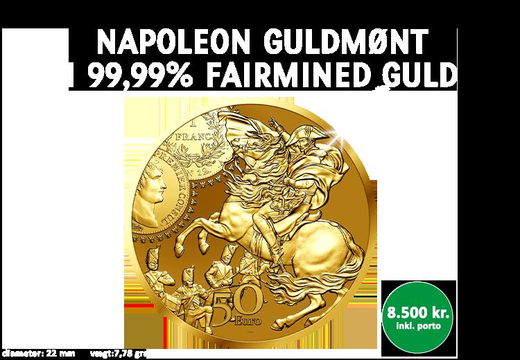 Officiel Napoleon guldmønt præget i fairmined guld