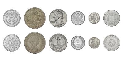 unikke mønter fra 6 kontinenter