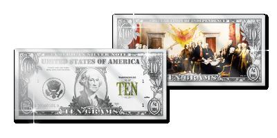 George Washington præget på en sølvbarre så tynd som en pengeseddel