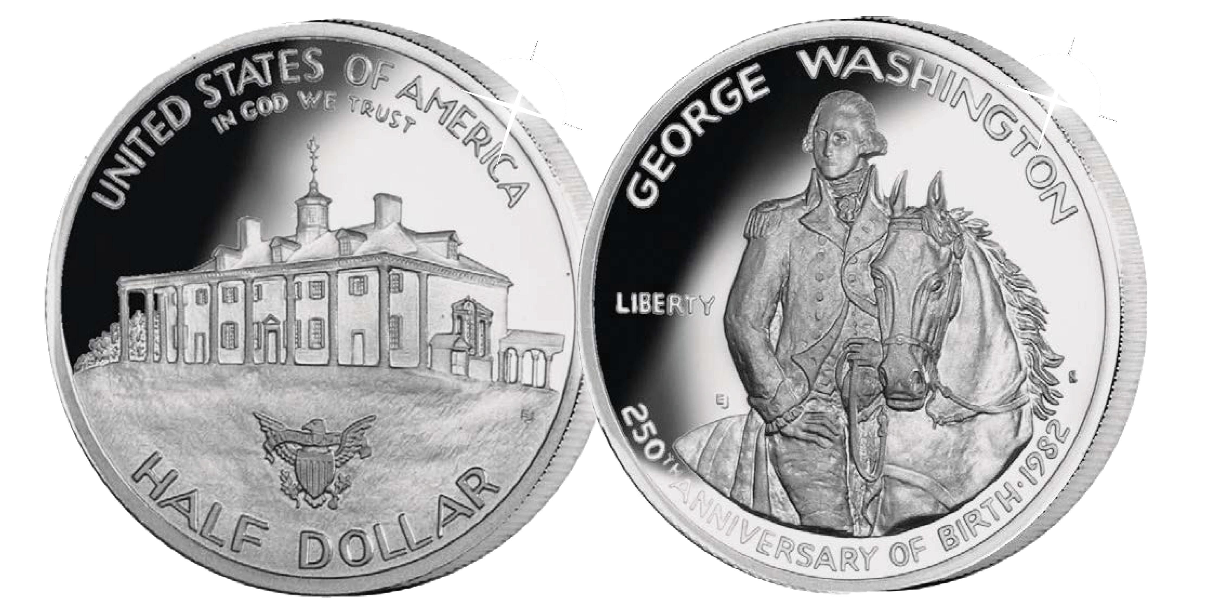 Amerikanske mønthistorie- Sølvmønt til ære for George Washington
