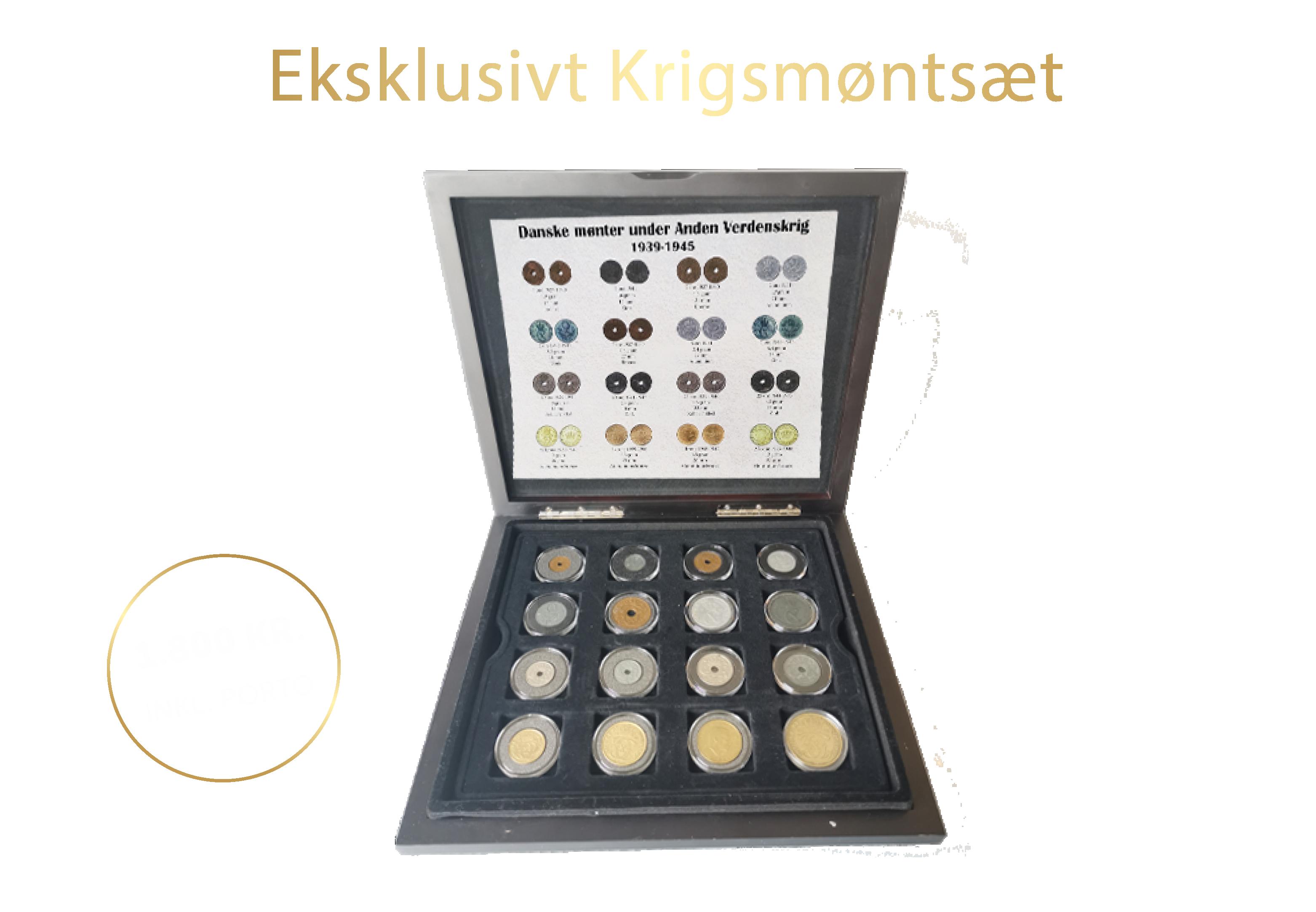 Anden Verdenskrigssæt 16 danske mønter fra perioden 1939 til 1945