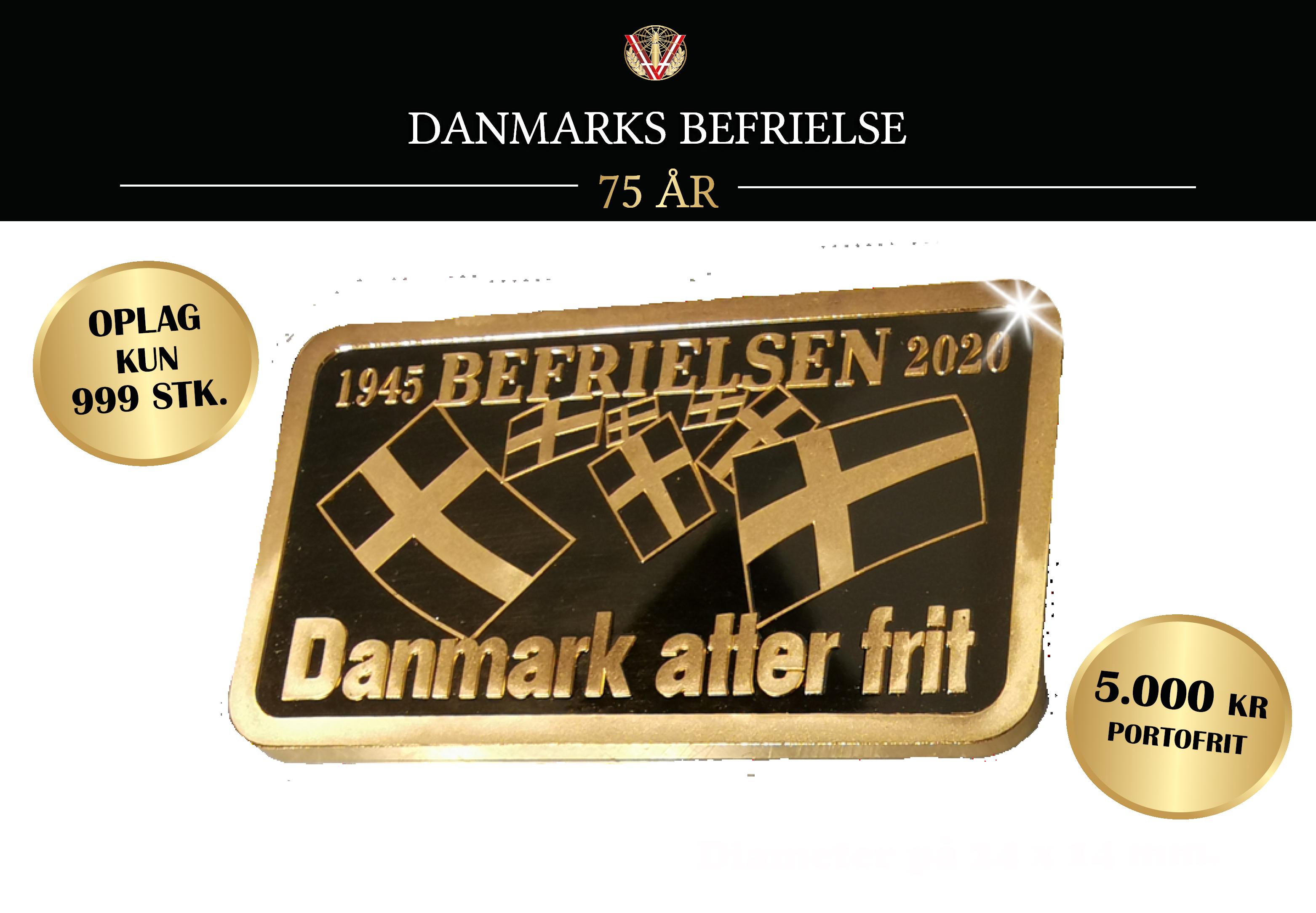 Danmarks befrielse 75 år - 5 gram guldbarre i hele 24 karat guld!