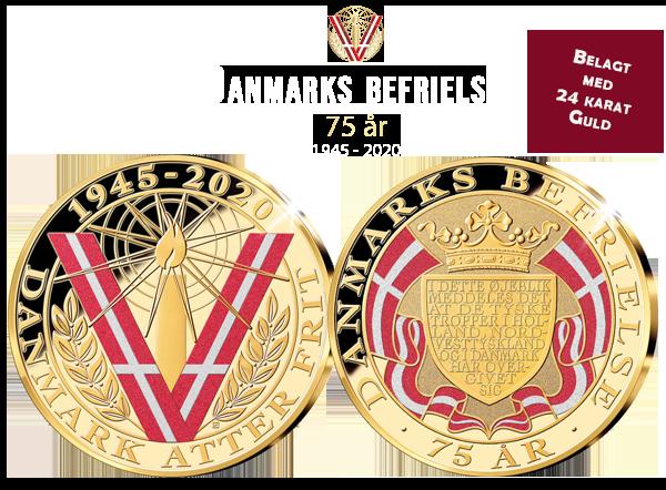 Danmarks befrielse 75 år - Forgyldt medalje med rubin og diamantstøv