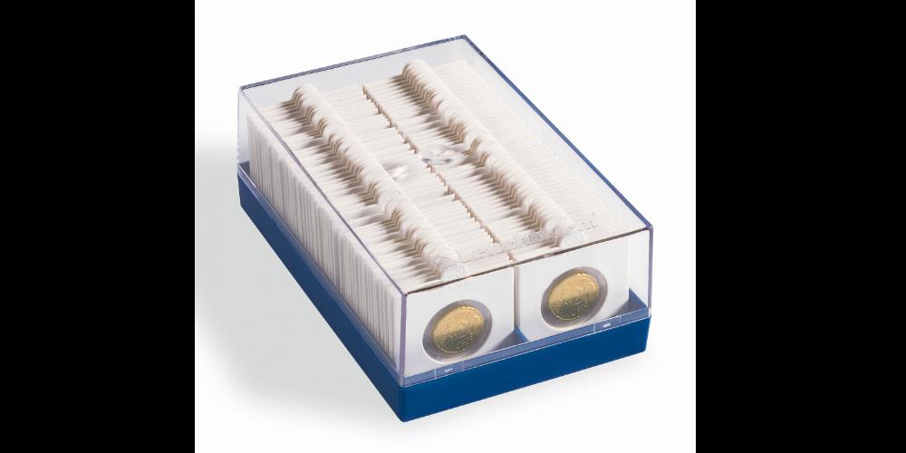 En praktisk plasticboks til opbevaring af dine mønter
