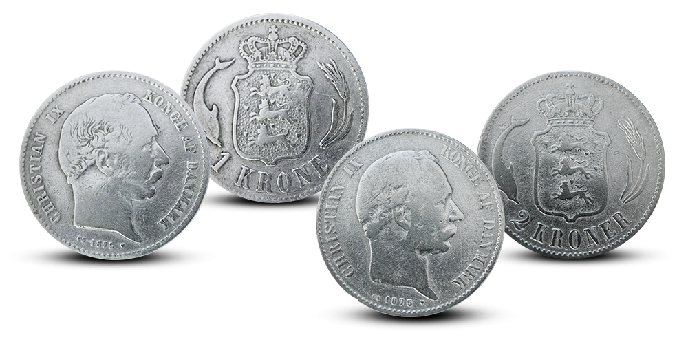 2 sølvmønter fra Christian IX regeringstid!