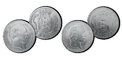 Danmarks første to typer af 1- og 2-kroner