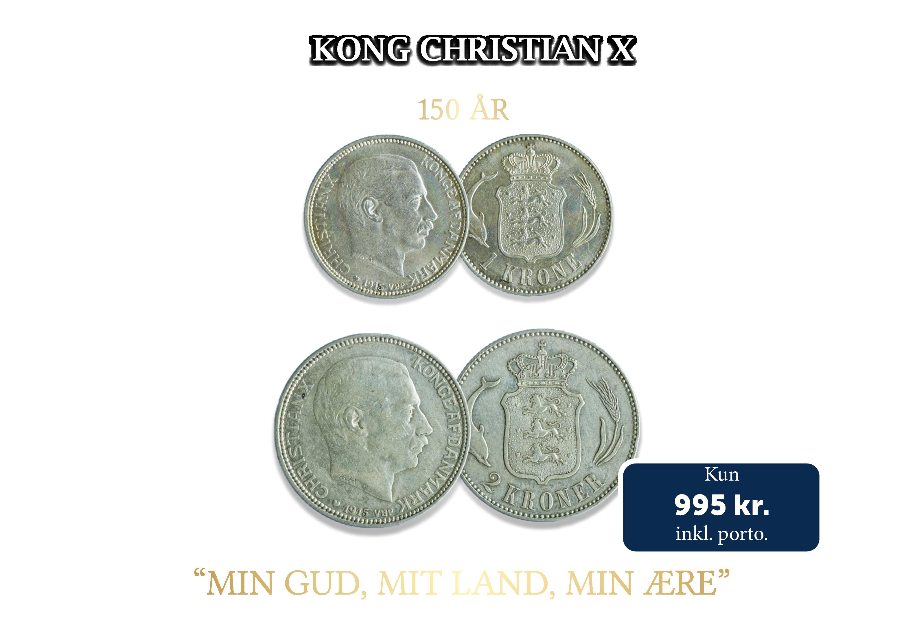 To originale danske sølvmønter samlet i et flot møntsæt.