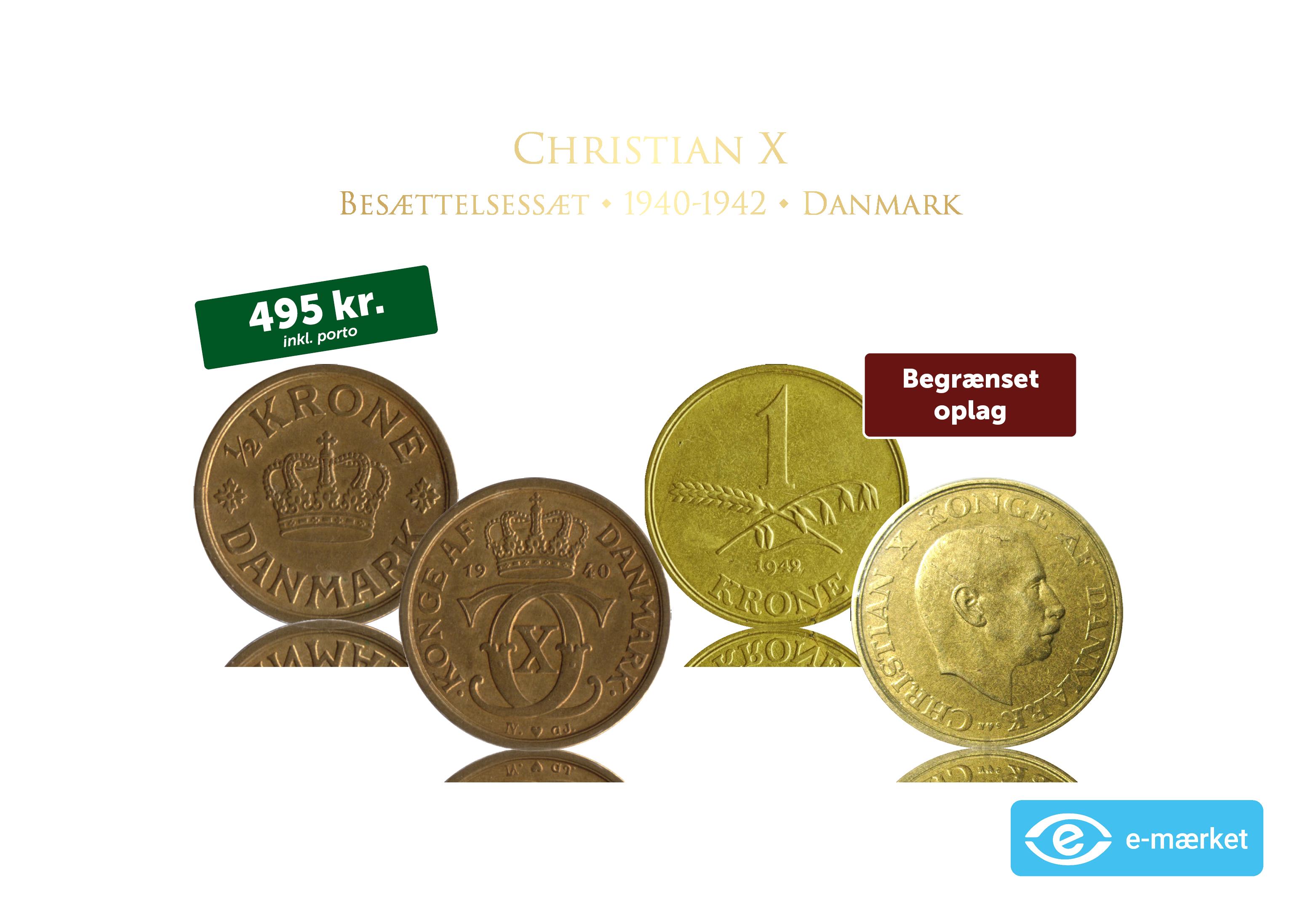 Christian X Besættelsessæt - to originale mønter