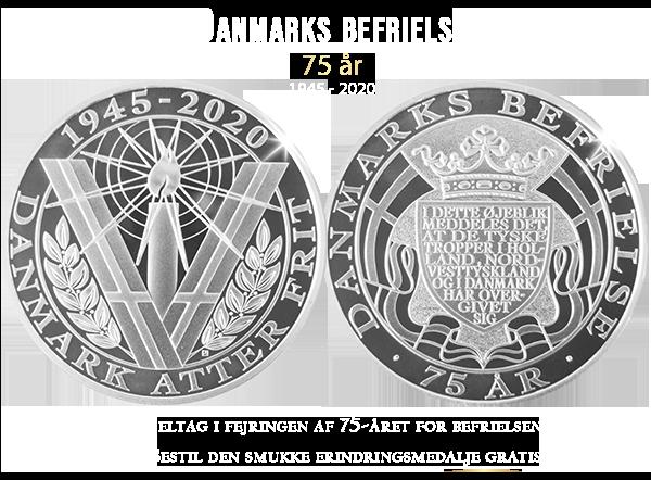 Danmarks befrielse 75 år - GRATIS erindringsmedalje