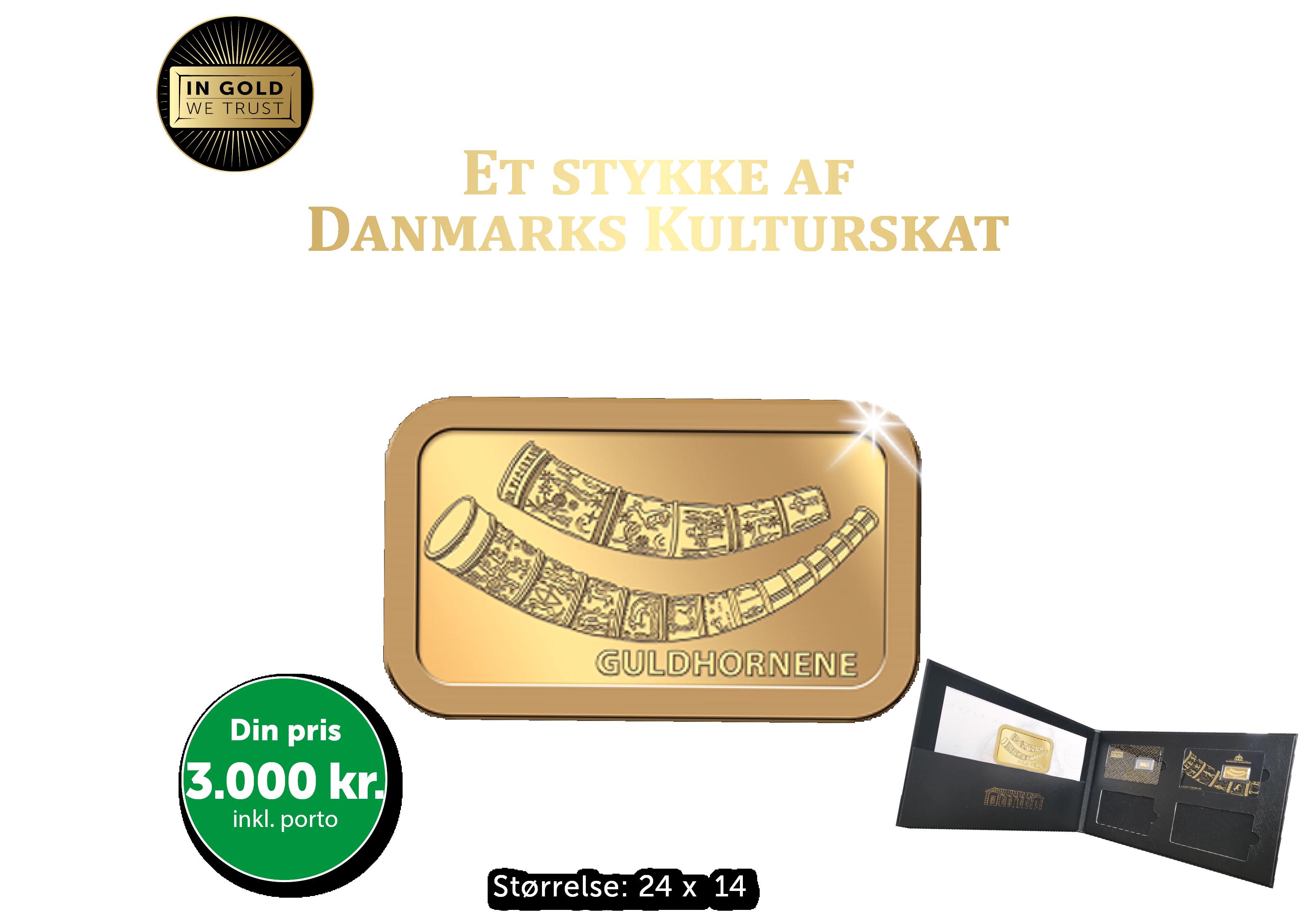 Danmarks Kulturskat - 2,5 gram guldbarre med motiv af guldhornene