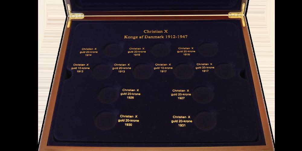 Med dette eksklusive mønskrin kan du have plads til 10-kroner og 20-kroner af hele 3 danske konger.