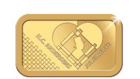 Guldbarre på 2,5 gram med H. C. Andersens julehjerte