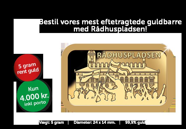 Danmarks Kulturskat - 5 gram guldbarre med motiv af Rådhuspladsen