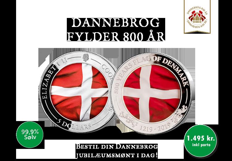 Dannebrog sølvmønt i 99,9 % sølv i forbindelse med 800-året for Dannebrog.