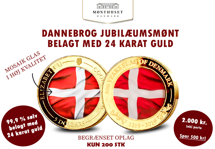 Dannebrog 800 år guldbelagt sølvmønt m/ farvet glas (5$)