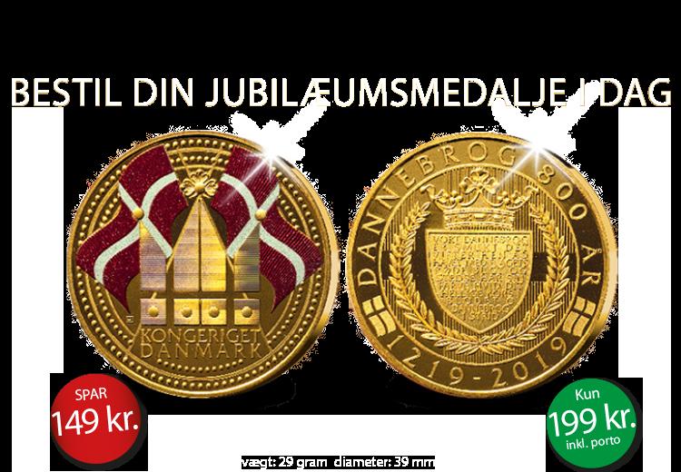 """Jubilæumsmedalje """"Dannebrog 800 år"""" - Eksklusiv specialudgave belagt med 24 karat guld og diamantstøv."""
