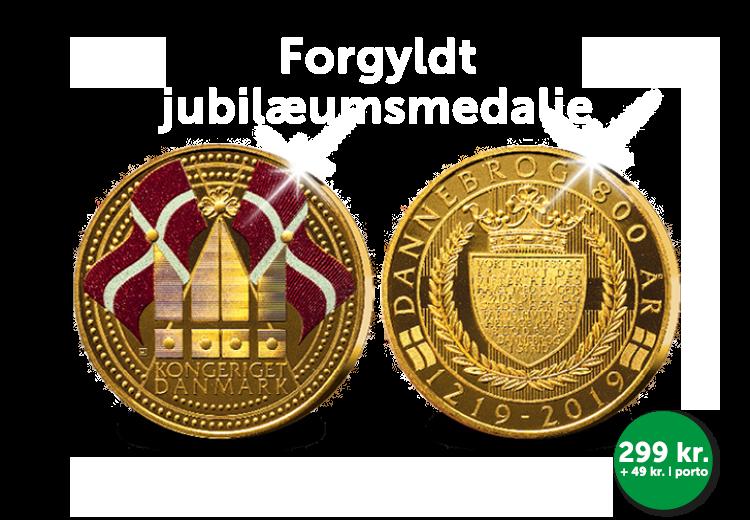 "Jubilæumsmedalje ""Dannebrog 800 år"" i 24 karat guld"