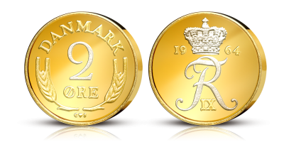 Kong Frederik IXs 2 øre - nu forgyldt med 24 karat guld og platin! Indleder samlingen