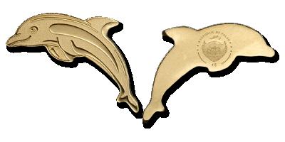 En specialformet mønt inspireret af delfinen i guld. Mønt i 99,9 % guld inspireret af delfinen.