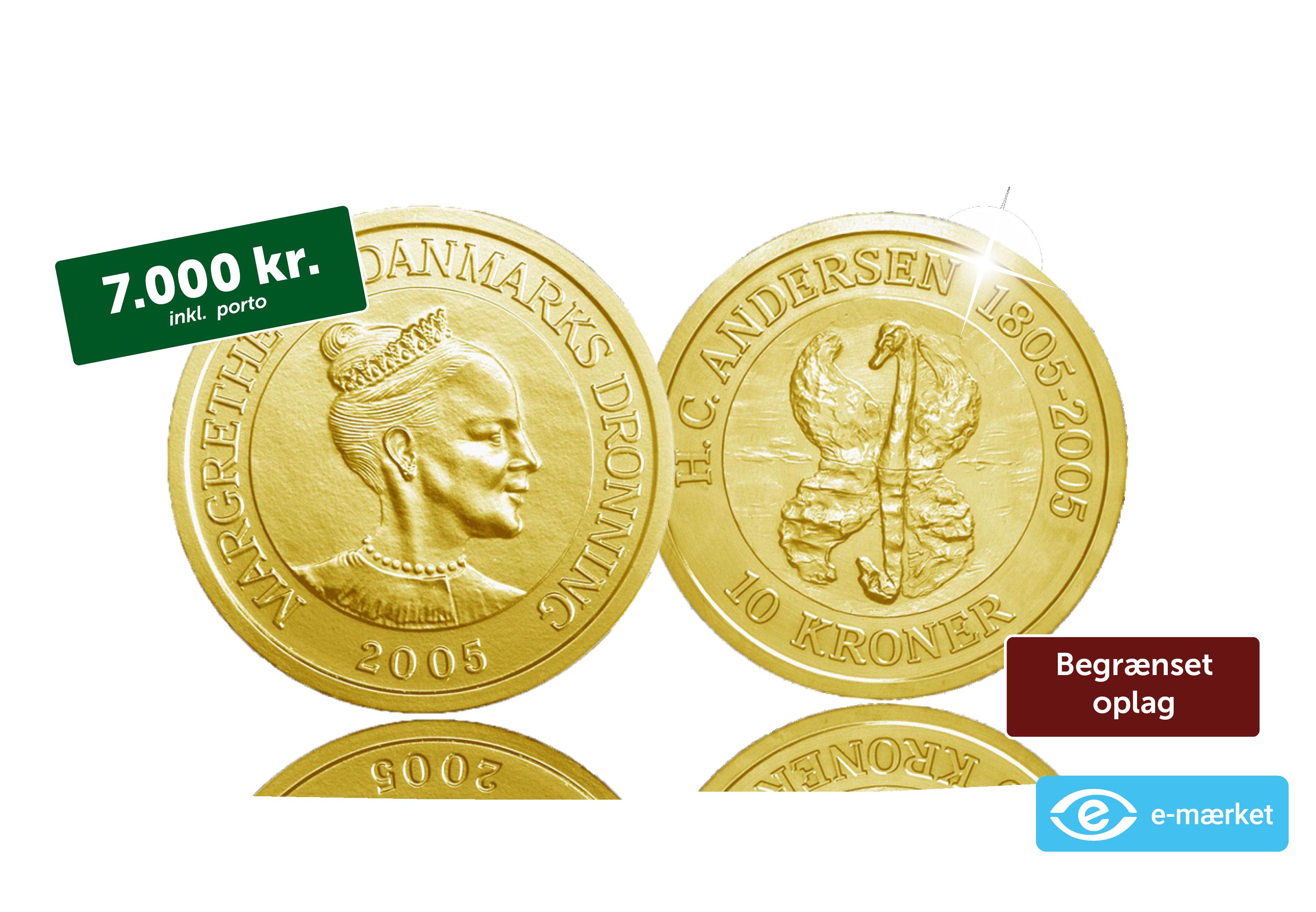 Danmarks første erindringsmønt i ægte guld nogensind - Få den officielle H.C. Andersen-guldmønt