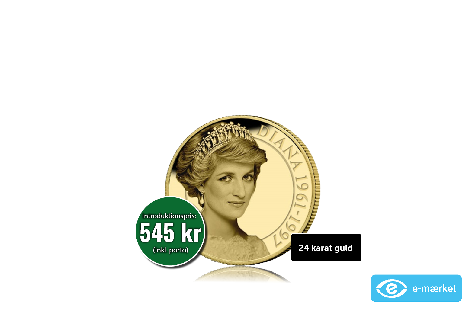 Smuk guldmønt med Prinsesse Diana- Folkets prinsesse