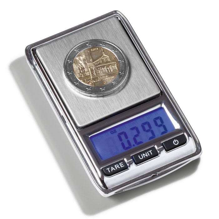 Digital møntvægt i praktisk lommeformat, med LCD skærm