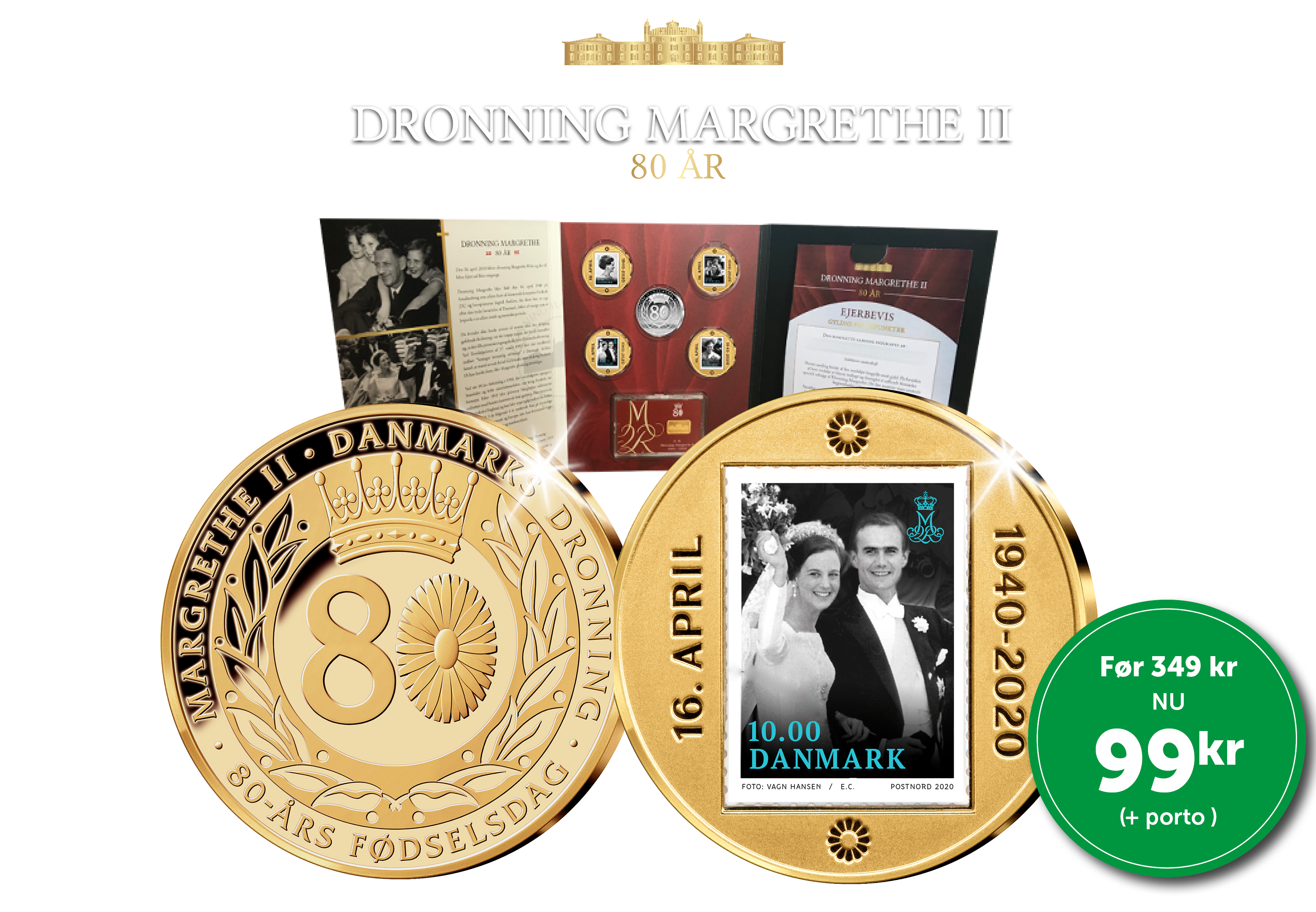 Dronning Margrethes 80 år - Løbende samling. Ingen binding. Du kan til enhver tid opsige din samling