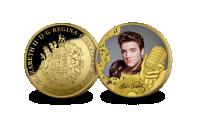 Elvis Presley - The King of Rock 'n' Roll guldbelagt mønt