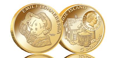 Astrid Lindgrens populære Emil er nu på en guldmønt