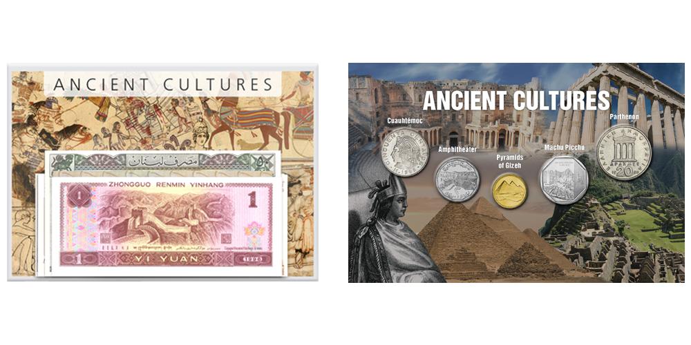 Et sæt med mønter og pengesedler fra gamle kulturer