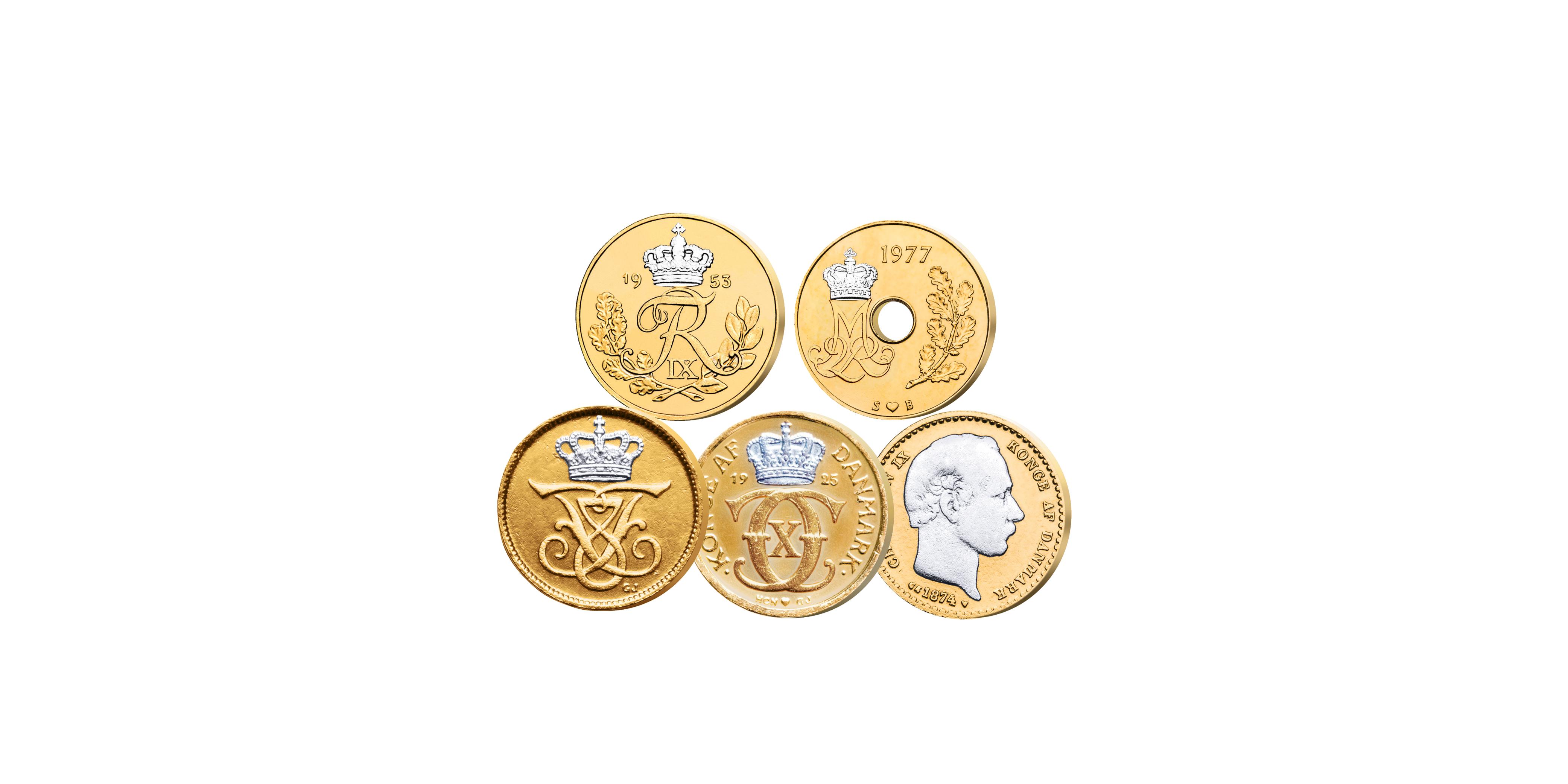 Øremønterne erudgivet under 5 danskeGlücksborgsregenter - Christian IX, Frederik VIII, Christian X, Frederik IX og Margrethe II. Alle øremønterne erblevet belagt med guld og platin.