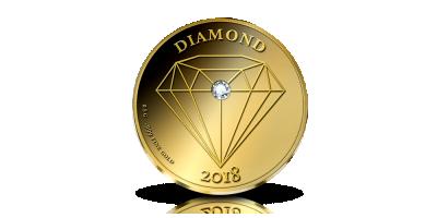 Guldmønt med ægte diamant
