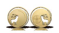 Guldbelagt mønt i 92,5 % sølv med udskåret motiv af den prægtige kronhjort