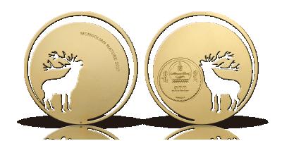 Smuk guldbelagt mønt med motiv af en kronhjort - med særligt cut-out motiv